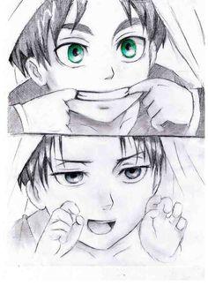 Toddler Eran and Levi. Attack on Titan ~ Shingeki no Kyojin.