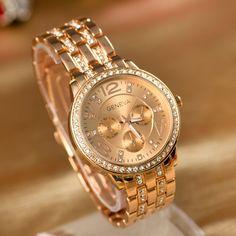 High Quality Geneva Brand Stainless Steel Crystal Wrist Watch Women Ladies Quartz Watch  genevas € 7,69