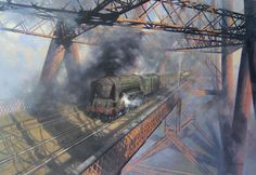 Guild of Railway Artists art gallery. Railway art created by renowned train painters. Works by David Shepherd, Terence Cuneo, Philip D Hawkins, Malcolm Root, John Austin and other famous artists. Railway Posters, Travel Posters, Transport Posters, Image Painting, Artist Painting, Car Painting, Steam Railway, Train Art, Traditional Paintings