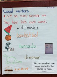 Some colleagues and I visited an amazing school today in Salem, Oregon: Myers Elementary. They have been integrating their ELD instruction into the regular subjects instead of … Kindergarten Anchor Charts, Writing Anchor Charts, Kindergarten Language Arts, Kindergarten Literacy, Readers Workshop Kindergarten, Early Literacy, Literacy Centers, Writing Lessons, Teaching Writing
