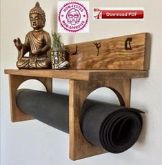 YogaWares makes specialty yoga mat holders for you or your favorite yogi. Made entirely of real wood, hand stained and decorated with white vinyl. A large full size shelf at the top to place your meditation or decorative items and custom Room Decor, Decor, Yoga Mat Holder, Wood, Meditation Rooms, Diy Home Decor, Home Diy, Diy Furniture, Home Decor