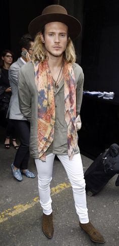 Yves Saint Laurent hat and YSL boots White jeans Dougie Poynter
