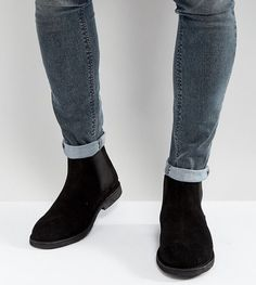 ASOS Wide Fit Chelsea Desert Boots in Black Suede - Black