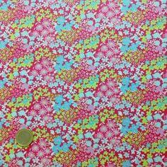 tissu - coton liberty nuage de fleurs fond fushia