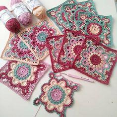 Crochet Square Patterns, Crochet Blocks, Crochet Squares, Crochet Granny, Knit Crochet, Cozy Blankets, Crochet Clothes, Crochet Earrings, Embroidery