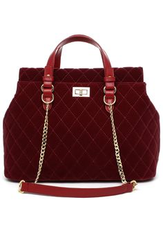 Velvet Quilted Chain Bag in Red