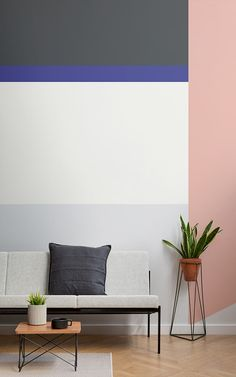 Modern Home Decor color block wall mural ideas.Modern Home Decor color block wall mural ideas Best Paint Colors, Wall Colors, House Colors, Striped Accent Walls, Painted Accent Walls, First Apartment Decorating, Block Wall, Creative Colour, Creative Ideas
