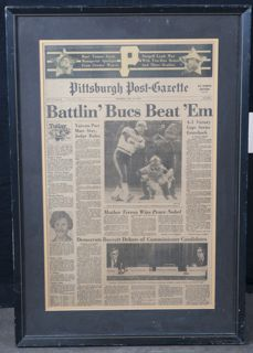 framed newspaper piece from the pittsburgh post gazette october 18 1979 with the