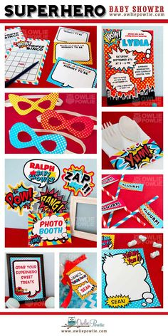 Baby Shower Superhero Party by OwliePowlie Marvel Baby Shower, Superhero Baby Shower, Superhero Birthday Party, Baby Boy Shower, Shower Party, Baby Shower Parties, Shower Gifts, Batman, Party Printables
