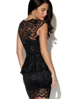 Black Lace Fitted Peplum Dress,  Dress, peplum  mini  sleeveless, Chic
