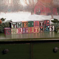 """Merry Christmas"" Blocks - TerrysVillage.com"