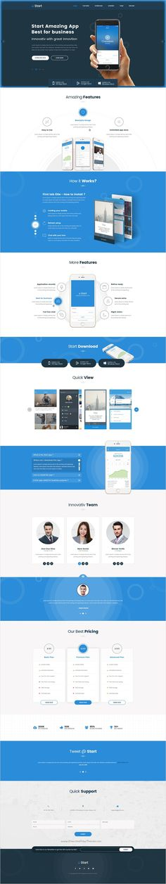 Start is perfect one page unique and modern design #HTML5 #template for startups, #apps landing page website download now➩ https://themeforest.net/item/start-app-landing-page-html-template-/17335377?ref=Datasata