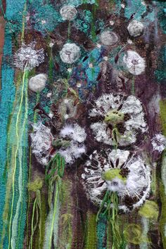 Dandelions. textile wall hanging. Fibre Art. by FabricsofNature, £395.00