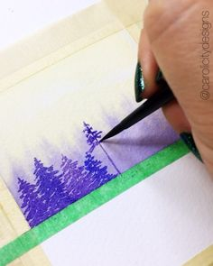 Watercolor Pine Tree Painting tutorial with step by step process photos Watercolor Trees, Watercolor Cards, Watercolor Landscape, Watercolour Painting, Painting & Drawing, Watercolors, Watercolor Lettering, Watercolour Tutorials, Watercolor Techniques