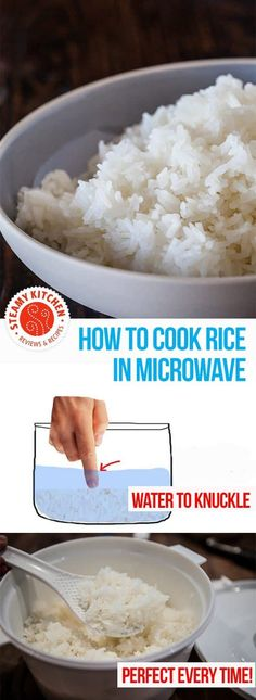 How to cook rice in the microwave, perfect every time! With an Asian Grandmother… How to cook rice in the microwave, perfect every time! With an Asian Grandmother's secret to measuring water. via Steamy Kitchen Cook Rice In Microwave, Microwave Dinners, How To Cook Rice, Microwave Recipes, How To Cook Pasta, Instant Pot, Instant Rice, Cooking Recipes, Side Dishes