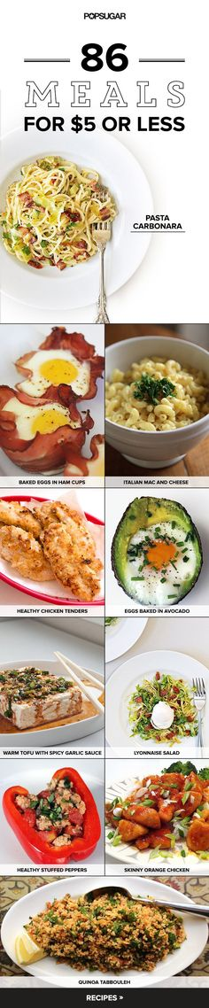 Make These 86 Amazing Meals For 5 or Less Cooking at home is great for your wallet and for the most part better for your health Instead of making the same recipes over. Frugal Meals, Budget Meals, Budget Recipes, Budget Cooking, College Cooking, Easy College Recipes, College Food Budget, Cheap College Meals, Easy Recipes