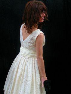 vintage 50's silk eyelet tea length wedding dress $148