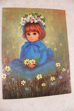 Vintage BIG EYED ART PRINT Jenny Girl & Flowers ReTrO by Sherle