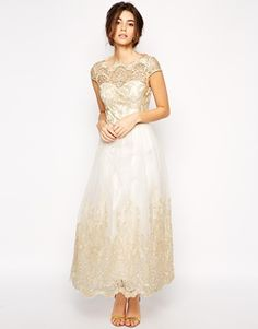 Enlarge Chi Chi London Premium Metallic Lace Prom Dress in Longer Length