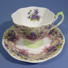 Rare Queen Anne Sweet Violets Green Handle Tea Cup and Saucer