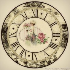 Clock with lady holding rose tree Art Vintage, Decoupage Vintage, Decoupage Paper, Vintage Paper, Vintage Prints, Vintage Clocks, Vintage Pictures, Vintage Images, Clock Face Printable