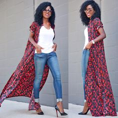 Love this outfit! Maxi shirt dress over jeans and white tee