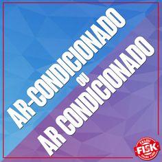 """As duas palavras estão corretas e são utilizadas, mas em diferentes situações. Enquanto """"ar-condicionado"""" se refere ao aparelho condicionador de ar, """"ar condicionado"""" se refere ao ar que está condicionado pelo aparelho! #DicaFisk"""