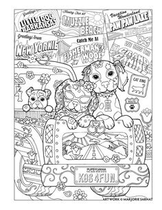 Road Trip Dazzling Dogs Coloring Book By Marjorie Sarnat