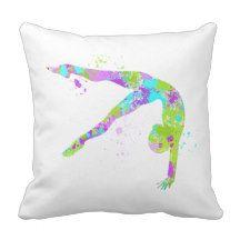 Shop Paint Splatter Gymnastics Throw Pillow created by Kookyburra. Gymnastics Gifts, Gymnasts, Paint Splatter, Throw Pillows, Purple, Room, Painting, Design, Cushions