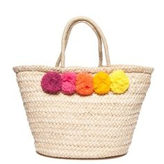 New Directions  Straw Bag With Poms ($29) ❤ liked on Polyvore featuring bags, handbags, natural, pom pom handbag, pom pom bag, straw bags, pink purse and straw handbags