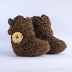 Brown Crochet Shell Wrap Boots    by babybuttercup, $22.00