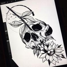Arte criada por João Mendes de Uberlândia. Clique para conhecer outros trabalhos desse artista. #tattoo #tatuagem #art #arte #desenho #drawing Sketch Tattoo Design, Skull Tattoo Design, Tattoo Sleeve Designs, Tattoo Sketches, Tattoo Drawings, Sleeve Tattoos, Scary Tattoos, Skull Tattoos, Black Tattoos