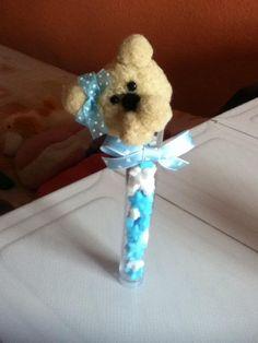 Oso hecho con pompones, foto cortesía de mi hermana.