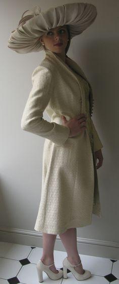 Allison Rodger linen coat with Edwina Ibbotson hat