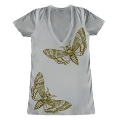 Gold print DeathHead moth shirt