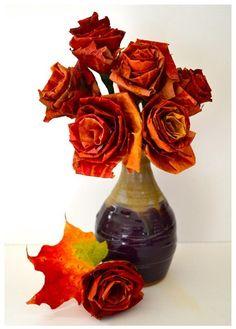 Bloemen gemaakt van herfstbalderen_Pinterest