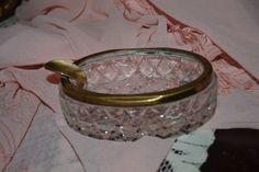 Vintage Cut Glass Ashtray, Diamond Pattern, Gold Tone Metal Trim