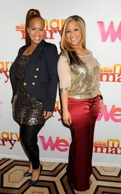 Mary Mary poses it up on the WE TV red carpet at the press screening