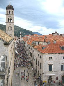 Stradun or Placa (Stradone) is the main street of Dubrovnik, Croatia. The limestone-paved pedestrian street runs some 300 metres through the Old Town, the historic part of the city surrounded by the Walls of Dubrovnik.