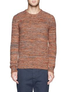 Crafted from a mix of multi-colour yarn in a honeycomb knit for an overall orange shade, this pure Merino wool sweater will break the solid Mens Fashion Blog, Best Mens Fashion, Hardy Amies, Merino Wool Sweater, Modern Man, Yarn Colors, Honeycomb, Knitwear, Branding Design