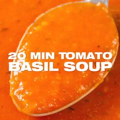 20 min Tomato Basil Soup Recipe - quick and easy one pot tomato soup prepared from scratch with fresh tomatoes within 20 minutes. This soup is also vegan, dairy free, low sodium, low calorie and gluten-free. www.MasalaHerb.com #tomatosoup #soup #masalaherb