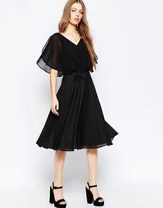 ASOS-Soft-Midi-Dress-Size-UK-8-Black-RRP-35