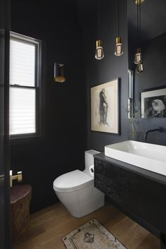 Black Powder Room with Brass Pendant Lights - Contemporary - Bathroom - Charleston - by Sea Island Builders LLC Powder Room Paint, Black Powder Room, Blue Powder Rooms, Coastal Powder Room, Modern Powder Rooms, Powder Room Decor, Powder Room Design, Powder Room Lighting, Green Powder