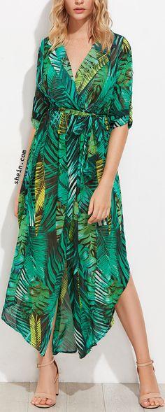 Allover Palm Leaf Print Curved Hem Shirt Dress