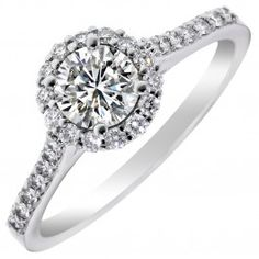 Diamond Halo Engagement Ring in 14kt White Gold (3/4ct tw)