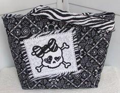 Black Badanna Skull Large Tote Bag Funky Girl Purse by Mokadesigntotes, $38.00