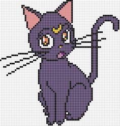 Luna x stitch pattern by on DeviantArt - deviantART: More Like Sailor Moon Cross Stitch by *Awenmir - Cross Stitching, Cross Stitch Embroidery, Embroidery Patterns, Perler Bead Art, Perler Beads, Perler Patterns, Loom Patterns, Cross Stitch Charts, Cross Stitch Patterns