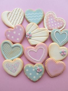 Valentines Day Hearts Decorated Cookies in Pastel Colors ~Shabby Chic Home Shabby Chic Cookies, Fancy Cookies, Vintage Cookies, Heart Cookies, Iced Cookies, Cute Cookies, Easter Cookies, Cupcake Cookies, Sugar Cookies