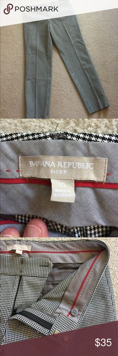"""Banana Republic Sloan ankle pants Sloan fit.  Size 10.  Houndstooth print.  I LOVE LOVE LOVE THESE PANTS.  I have several pairs myself and just think they are the best fitting pant for a gal who likes some stretch to her pant.  Inseam is 29"""".  Waist is 17"""" flat.  rise is 9"""". Banana Republic Pants Ankle & Cropped"""