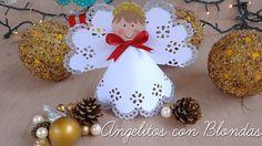 [World] Engle i papir 56 Christmas Bulbs, Christmas Crafts, Christmas Decorations, Holiday Decor, Diy Paper, Paper Crafts, Chocolates, Diy Angels, Angel Crafts